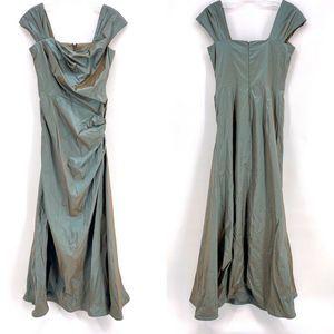 Tadashi Shoji Dress Green Ruched Sleeveless Size 6